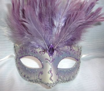 Gold & Lilac  feathered petie Mask (1)